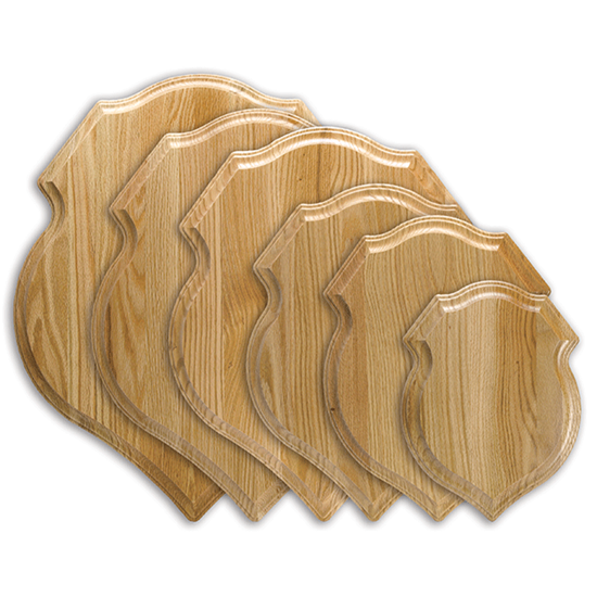 Solid oak, crest-shaped plaque for taxidermy mounts.